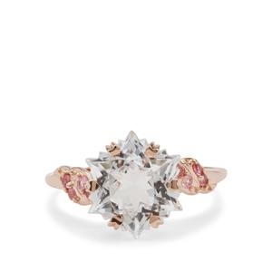 Wobito Snowflake Cut Pure White Topaz Ring with Pink Tourmaline in 9K Rose Gold 5.70cts
