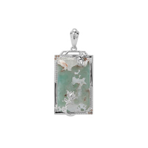 Aquaprase™, Champagne Diamond Pendant with White Diamond in Sterling Silver 17.92cts