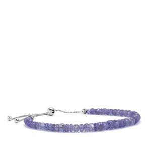Tanzanite Graduated Bead Slider Bracelet in Sterling Silver 26.50ct