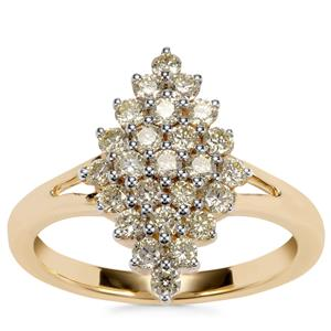 Natural Yellow Diamond Ring in 18K Gold 0.79ct