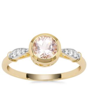 Alto Ligonha Morganite Ring with White Zircon in 9K Gold 0.79ct