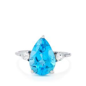 Swiss Blue Topaz & White Zircon 9K White Gold Ring ATGW 5.04cts