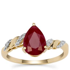 Burmese Ruby Ring with Diamond in 9K Gold 2.30cts