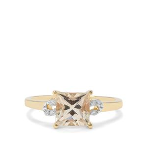 Serenite & Diamond 9K Gold Ring ATGW 1.61cts