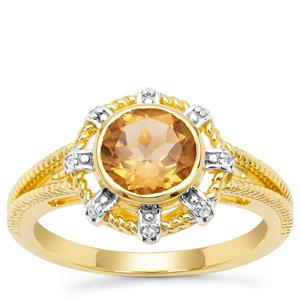 Umba River Scapolite Ring with White Zircon in Gold Plated Sterling Silver 1.27cts
