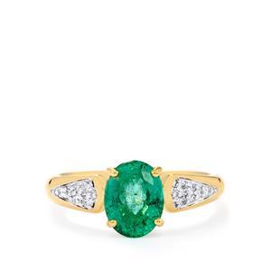 Zambian Emerald & Diamond 18K Gold Tomas Rae Ring MTGW 1.92cts