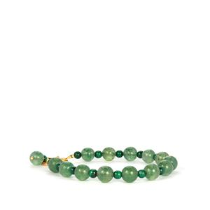 Aventurine Bracelet with Malachite in Gold Tone Sterling Silver 55cts