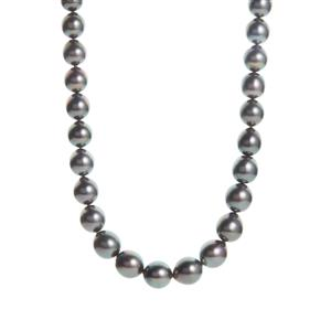 Tahitian Cultured Pearl (8-10mm) Sterling Silver Graduated Necklace