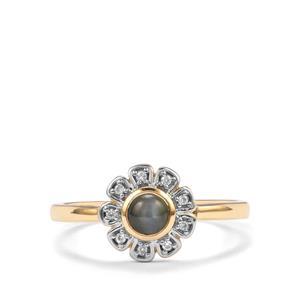 Cats Eye Alexandrite & White Zircon 10K Gold Ring ATGW 0.46cts