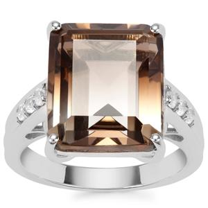 Bi-Colour Smokey Quartz Ring with White Zircon in Sterling Silver 10.10cts