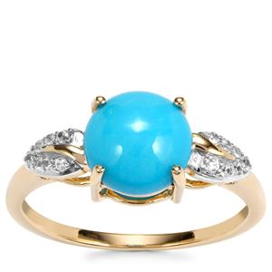 Sleeping Beauty Turquoise Ring with White Zircon in 9K Gold 1.83cts