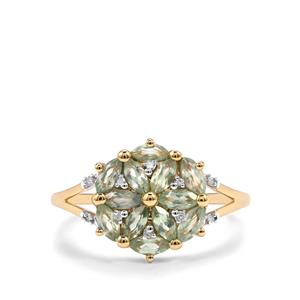 Alexandrite Ring with Diamond in 9K Gold 1ct