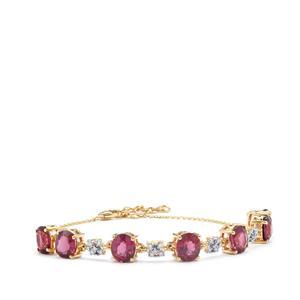 Malawi Garnet Bracelet with Diamond in 18K Gold 9.64cts