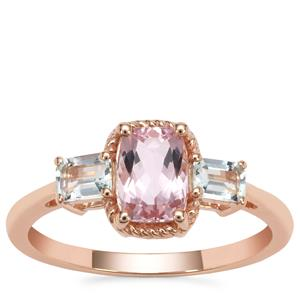 Cherry Blossom™ Morganite Ring with Aquaiba™ Beryl in 9K Rose Gold 1.25cts