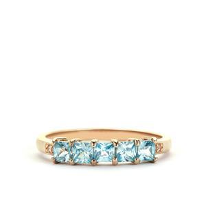 Ratanakiri Blue Zircon Ring with White Zircon in 9K Gold 1.20cts