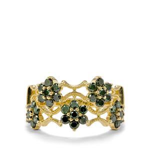 Green Diamond Ring in 9K Gold 1ct