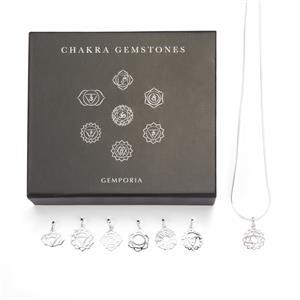 Set of 7 Chakra Symbol Pendants with Chain