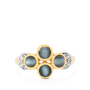 Cats Eye Alexandrite Ring with Diamond in 10k Gold 1.72cts