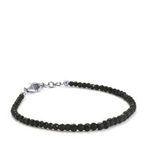 Black Spinel Graduate Bead Bracelet in Sterling Silver 20cts