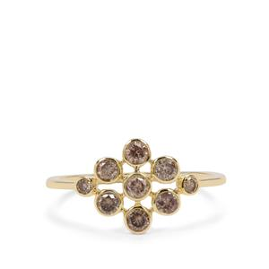 Champagne Diamond Ring in 9K Gold 0.56ct