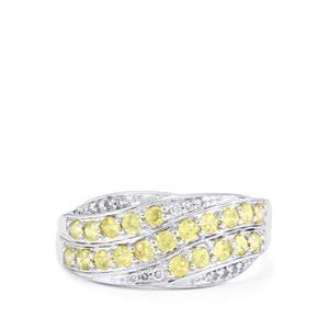 Ambilobe Sphene & Diamond 14K White Gold Ring ATGW 0.88cts