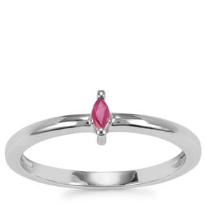 Burmese Ruby Ring in Sterling Silver 0.08ct