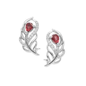 Rajasthan Garnet Earrings with White Zircon in Sterling Silver 0.45ct