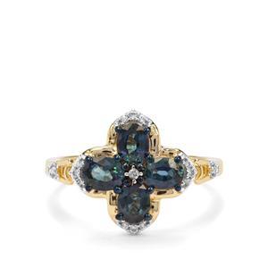 Natural Nigerian Blue Sapphire & White Zircon 9K Gold Ring ATGW 1.58cts