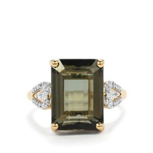 Green Tourmaline Ring with Diamond in 18K Gold 10.08cts