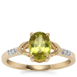 Ambilobe Sphene Ring with Diamond in 9K Gold 1.31cts