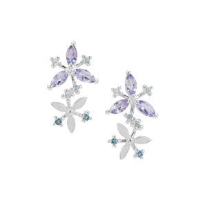 AA Tanzanite & Swiss Blue, London Blue Topaz Sterling Silver Earrings ATGW 1.01cts