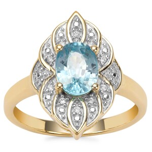 Ratanakiri Blue Zircon Ring with White Zircon in Gold Plated Sterling Silver 2cts