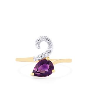 Zambian Amethyst Ring with White Zircon in 10K Gold 1.07cts
