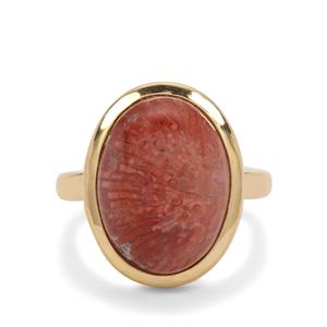 Red Horn Coral Ring in Gold Plated Sterling Silver 8cts
