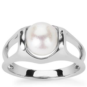 Kaori Cultured Pearl Ring in Rhodium Flash Sterling Silver (8mm)