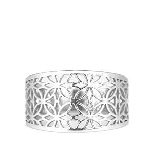 Rhodium Plated Sterling Silver Bayeux Ring 1.43g