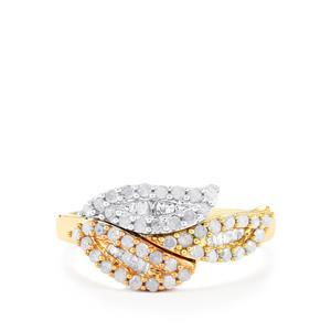 Diamond Ring  in 10K Three Tone Gold 0.52ct