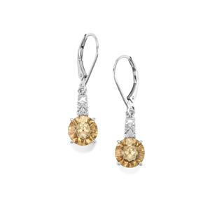 Lehrer KaleidosCut Champagne Quartz, Gouveia Andalusite Earrings with Diamond in 9K White Gold 3.04cts