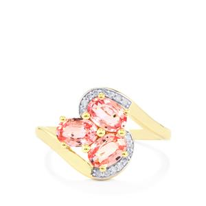 Sakaraha Pink Sapphire Ring with Diamond in 9K Gold 1.81cts