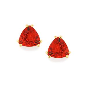 Tarocco Red Andesine Earrings in 10k Gold 1.77cts