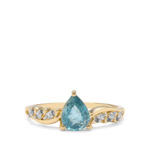 1.63ct Ratanakiri Blue & White Zircon 9K Gold Ring