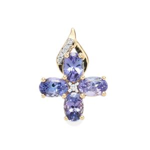 AA Tanzanite Pendant with White Zircon in 10K Gold 2.39cts