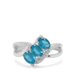 Neon Apatite & White Zircon Sterling Silver Ring ATGW 1.49cts