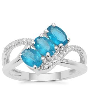 Neon Apatite Ring with White Zircon in Sterling Silver 1.49cts