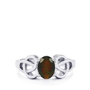Ethiopian Black Opal Ring in Sterling Silver 0.67ct