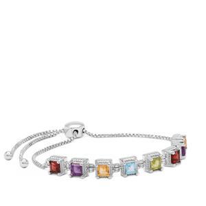 Kaleidoscope Gemsstone Slider Bracelet in Sterling Silver 3.13cts