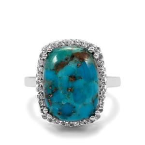 Bonita Blue Turquoise & White Topaz Sterling Silver Ring ATGW 9.21cts