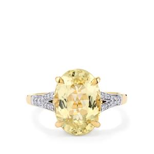 Canary Kunzite Ring with Diamond in 14K Gold 5.24cts