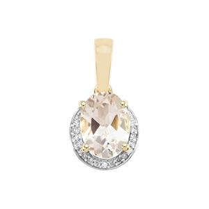 Alto Ligonha Morganite & Diamond 9K Gold Pendant ATGW 1.16cts