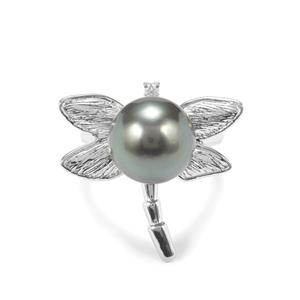 Tahitian Cultured Pearl & White Zircon Sterling Silver Ring (13mm x 12mm)